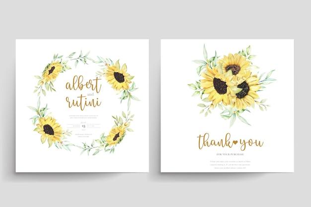 Ręcznie rysowane akwarela słonecznikowy zestaw kart ślubnych