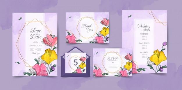 Ręcznie rysowane akwarela ślub szablon karty