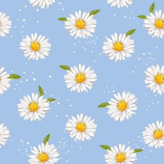 Ręcznie rysowane akwarela stokrotki kwiat tło wzór