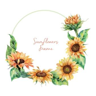 Ręcznie rysowane akwarela wieniec słoneczniki