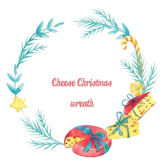 Ręcznie rysowane akwarela wieniec świąteczny ser