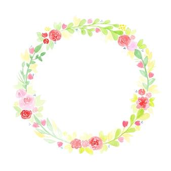 Ręcznie rysowane akwarela wieniec z streszczenie kwiaty i liście na białym tle