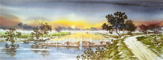 Ręcznie rysowane akwarela zachód słońca w krajobrazie przyrody jeziora
