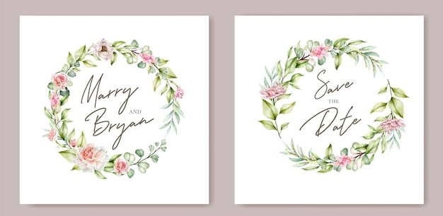 Ręcznie rysowane akwarela zaproszenie kwiatowy