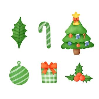 Ręcznie rysowane akwarela zestaw dekoracji świątecznych.
