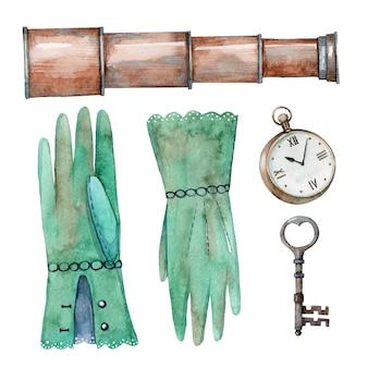 Ręcznie rysowane akwarela zestaw elementów zabytkowych przygody. klepsydra, rękawiczki, zegarki i klucz