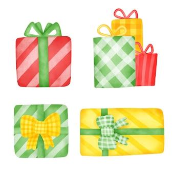 Ręcznie rysowane akwarela zestaw pudełek na prezent.