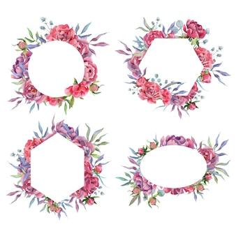 Ręcznie rysowane akwarela zestaw ramek i obramowań piwonii kwiaty bukiety i aranżacje