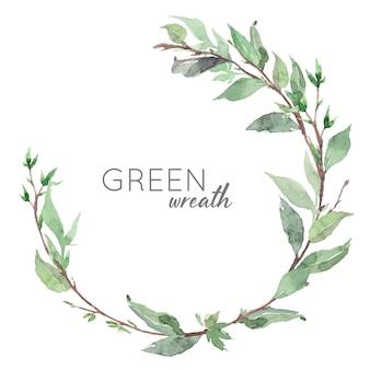 Ręcznie rysowane akwarela zielonych liści wieniec