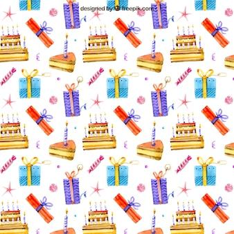 Ręcznie rysowane akwarele tort i prezenty wzór