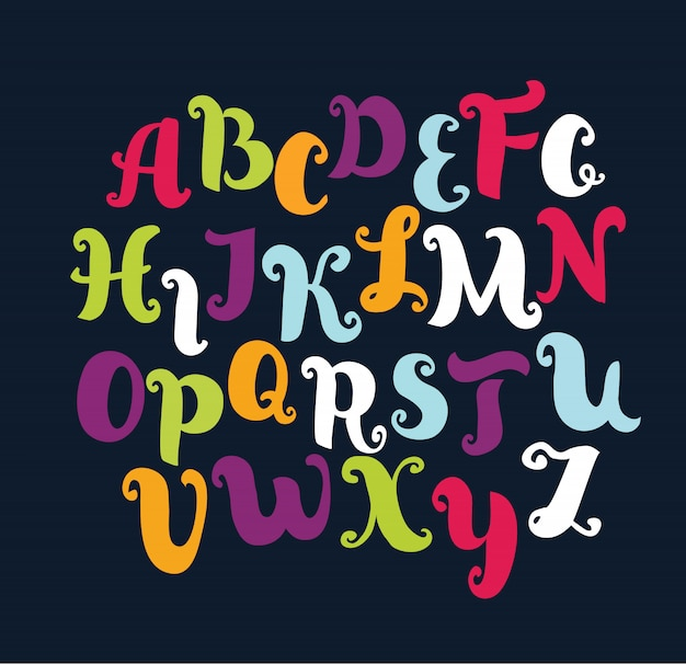 Ręcznie rysowane alfabet. alfabet w pastelowych kolorach. wielkie litery.