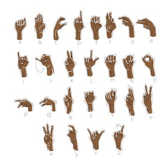 Ręcznie rysowane alfabet języka gestu