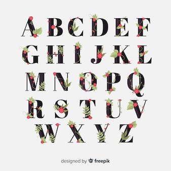 Ręcznie rysowane alfabet kwiatowy