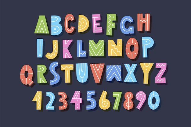 Ręcznie rysowane alfabet, litery i cyfry, ilustracja