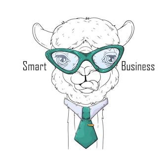 Ręcznie rysowane alpaki z krawatem