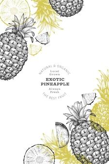 Ręcznie rysowane ananas w stylu szkicu