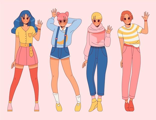 Ręcznie rysowane anime powitanie ludzi z całego ciała