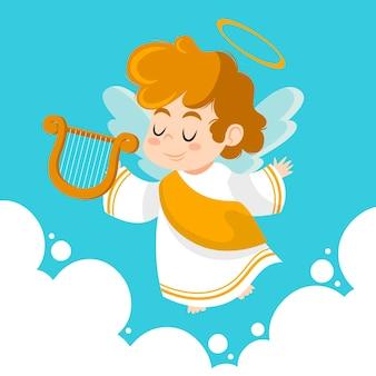 Ręcznie rysowane anioł bożego narodzenia z harfą
