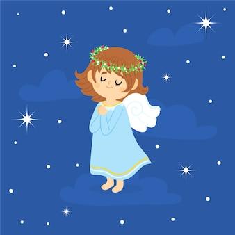 Ręcznie rysowane anioł bożego narodzenia