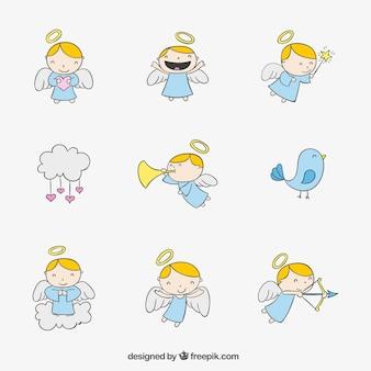 Ręcznie rysowane aniołki