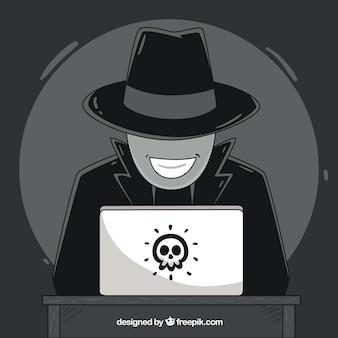 Ręcznie rysowane anonimowy koncepcja hakera