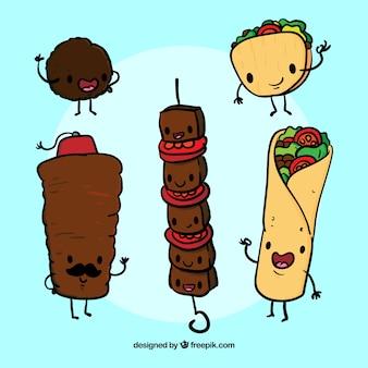 Ręcznie rysowane arabską śmieszne żywności