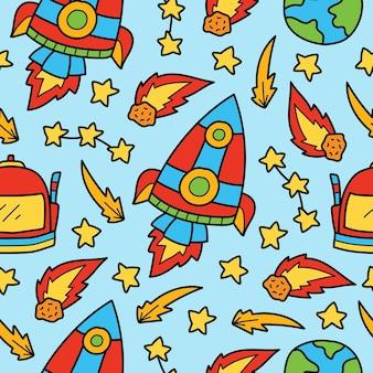 Ręcznie rysowane astronauta doodle kreskówka wzór bez szwu