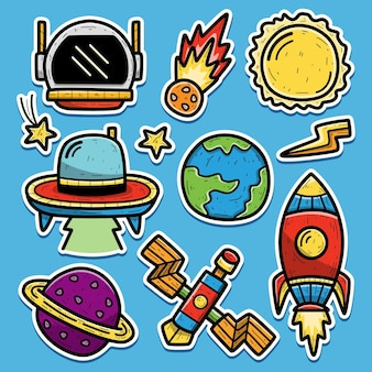 Ręcznie rysowane astronauta kreskówka doodle projekt naklejki