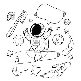 Ręcznie rysowane astronauta szczoteczka do zębów