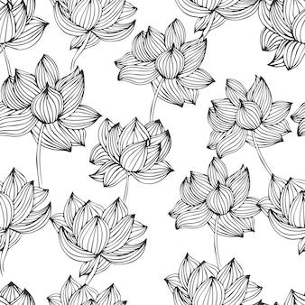 Ręcznie rysowane atrament bezszwowe róże wzór w wektorze.