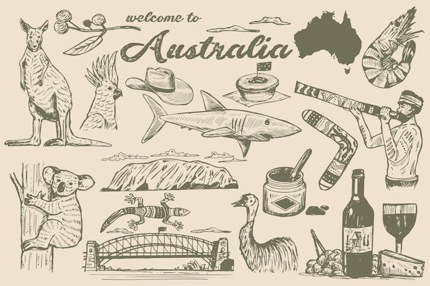 Ręcznie rysowane australia doodle, styl szkicu.