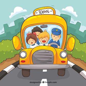 Ręcznie rysowane autobusu szkolnego i dzieci w stylu cartoon