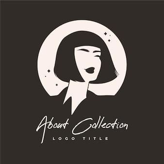 Ręcznie rysowane avatar logo kobiety
