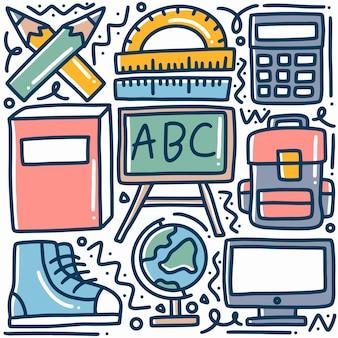 Ręcznie rysowane badania doodle zestaw z ikonami i elementami projektu
