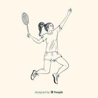 Ręcznie rysowane badmintonista z rakietą