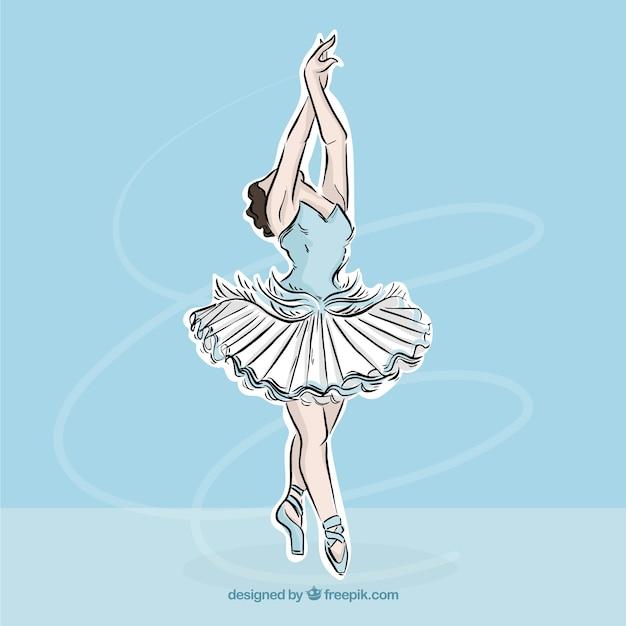 Ręcznie rysowane baleriny w eleganckiej pozie