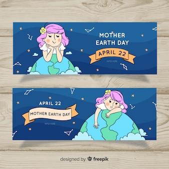 Ręcznie rysowane baner dzień matki ziemi