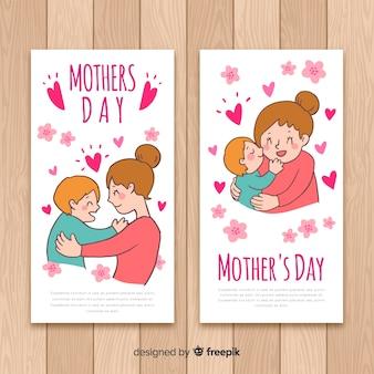 Ręcznie rysowane baner dzień matki