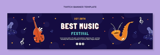 Ręcznie rysowane baner festiwalu muzycznego