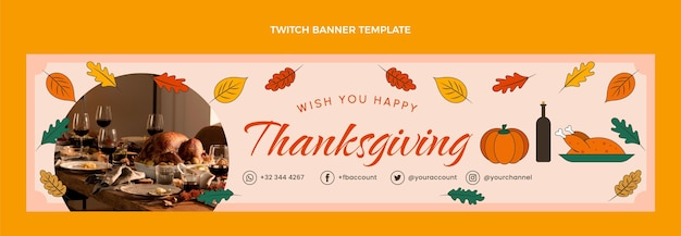 Ręcznie rysowane baner na święto dziękczynienia