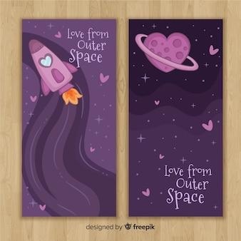 Ręcznie rysowane baner wszechświat valentine