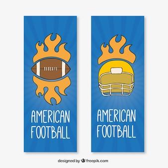 Ręcznie rysowane banery amerykański futbol z kaskiem i piłka