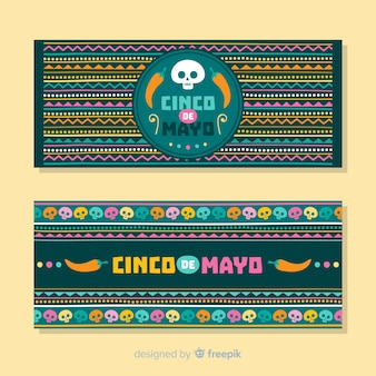 Ręcznie rysowane banery cinco de mayo