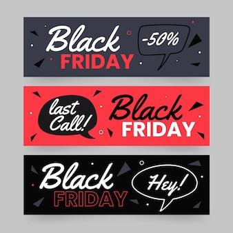 Ręcznie rysowane banery czarny piątek