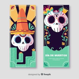 Ręcznie rysowane banery día de muertos