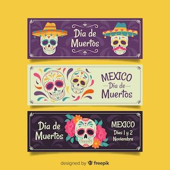 Ręcznie rysowane banery dia de muertos