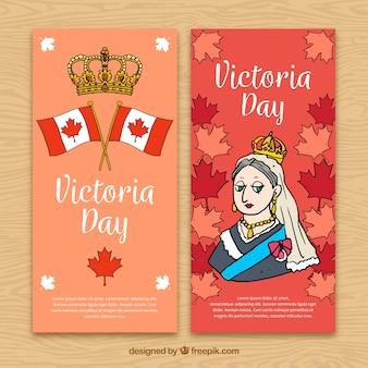 Ręcznie rysowane banery dni victoria