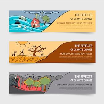 Ręcznie Rysowane Banery Dotyczące Zmian Klimatu Darmowych Wektorów