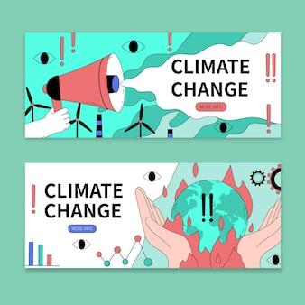 Ręcznie rysowane banery dotyczące zmian klimatu