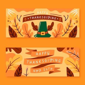 Ręcznie rysowane banery dziękczynienia